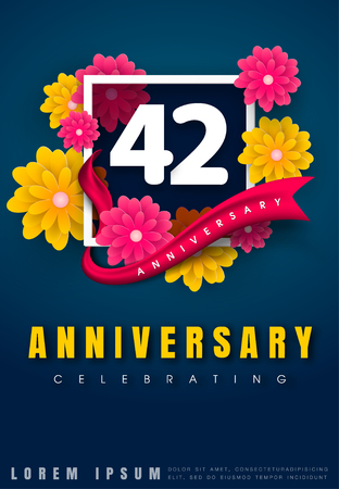 adorn: 42 years anniversary invitation card - celebration template design , 42nd anniversary with flowers and modern design elements, dark blue background - vector illustration