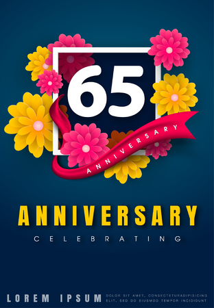 adorn: 65 years anniversary invitation card - celebration template design , 65th anniversary with flowers and modern design elements, dark blue background - vector illustration