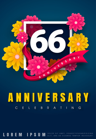 adorn: 66 years anniversary invitation card - celebration template design , 66th anniversary with flowers and modern design elements, dark blue background - vector illustration