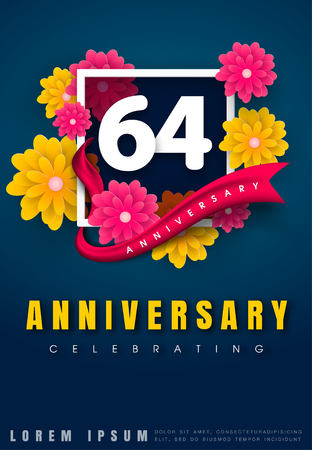 adorn: 64 years anniversary invitation card - celebration template design , 64th anniversary with flowers and modern design elements, dark blue background - vector illustration