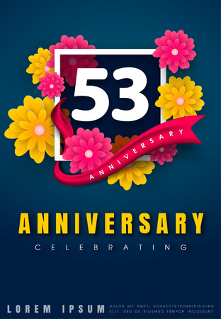 53 years anniversary invitation card - celebration template design , 53rd anniversary with flowers and modern design elements, dark blue background - vector illustration Illustration