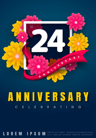24 years anniversary invitation card - celebration template design , 24th anniversary with flowers and modern design elements, dark blue background - vector illustration
