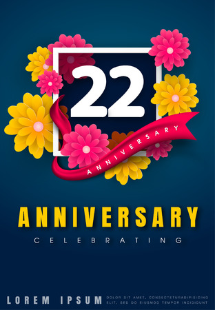 22 years anniversary invitation card - celebration template design , 22nd anniversary with flowers and modern design elements, dark blue background - vector illustration Illustration
