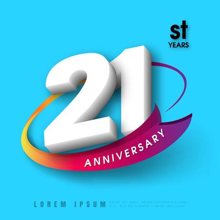 Anniversary emblemen 21-jarig bestaan ??malplaatjeontwerp Stockfoto - 75440777