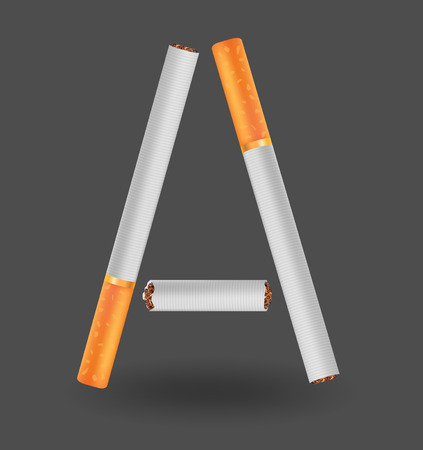 Letter A made of cigarettes icon. Çizim
