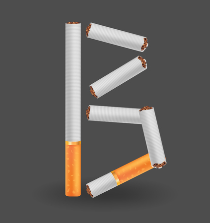 Letter B made of cigarettes icon.