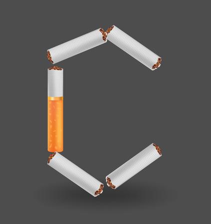 Alphabet C made of cigarettes on illustration Çizim