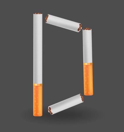 arsenic: Alphabet D made of cigarettes on illustration