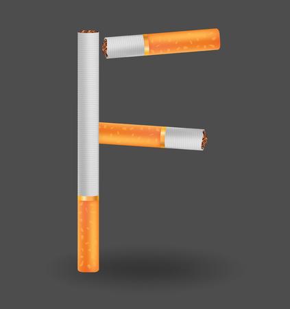Alphabet F made of cigarettes on illustration Çizim