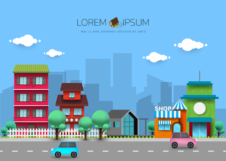 Urban landscape with buildings, Street, highway with cars, Concept city and suburban life.