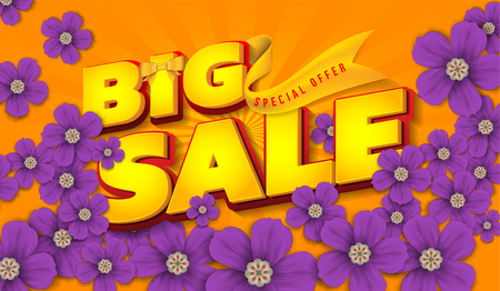 Big Sale with beautiful colorful flower, for  template,banners,wallpaper, invitation, posters, brochure, voucher discount. Illustration