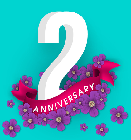 2nd anniversary template design, Anniversary emblems with flowers and ribbon