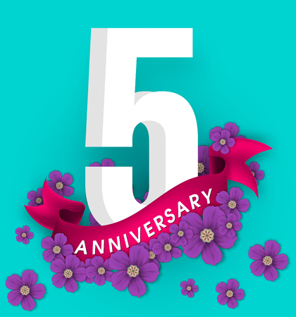 5 anniversary template design, Anniversary emblems with flowers and ribbon