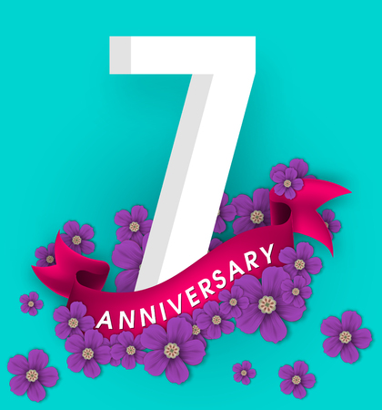7th anniversary template design, Anniversary emblems with flowers and ribbon
