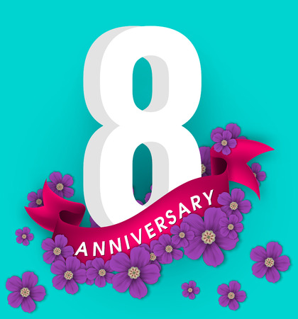 8th anniversary template design, Anniversary emblems with flowers and ribbon Stok Fotoğraf - 85502072