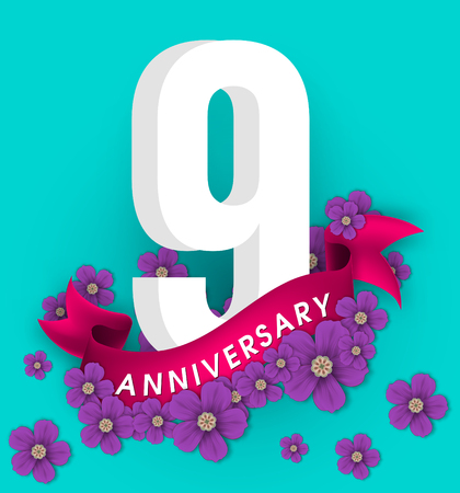 9th anniversary template design, Anniversary emblems with flowers and ribbon Stock Illustratie