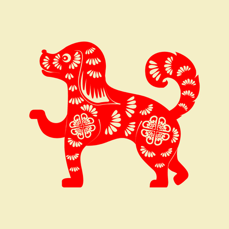 2018 Chinese New Year Paper Cutting Year of Dog Vector Design for your greetings card, flyers, invitation, posters, brochure, banners, calendar Ilustração