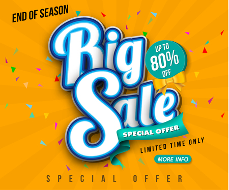 Sale banner template design, Big sale special up to 80% off. Super Sale, end of season special offer banner. vector illustration.