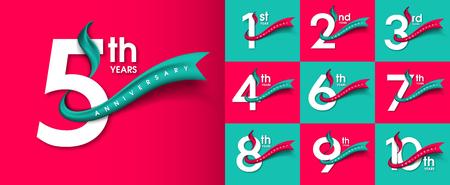 Conjunto de emblemas de aniversario, diseño de plantilla de aniversario para web, juego, cartel creativo, folleto, folleto, volante, revista, tarjeta de invitación
