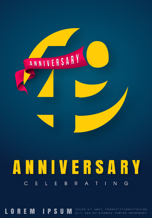 Anniversary emblems 49 anniversary template design. Creative design for your greetings card, flyers, invitation, posters, brochure, banners, calendar Illustration