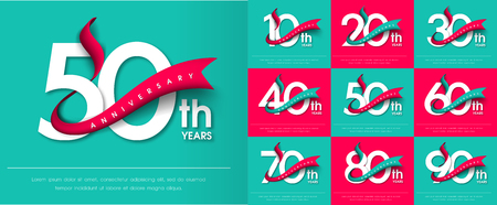 Ensemble d'emblèmes d'anniversaire, conception de modèle d'anniversaire pour le web, jeu, affiche créative, brochure, dépliant, flyer, magazine, carte d'invitation Vecteurs
