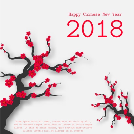 Chinese New Year card with plum blossom