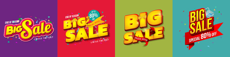 Set of Sale banner template design, Big sale special up to 80% off. Super Sale, end of season special offer banner for web, game ,Creative poster, booklet, leaflet, flyer, magazine. vector illustration. Çizim