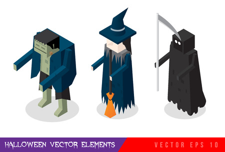 sprite: Isometric horror vector flat illustration set. Halloween. Characters : witch, vampire, zombie, ghost, death.
