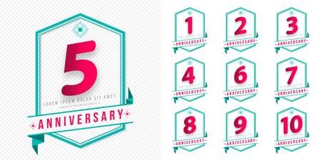周年記念エンブレムの設定、web、ゲーム、デザインしている周年テンプレートは創造的なポスター、小冊子、リーフレット、フライヤー、雑誌、招  イラスト・ベクター素材