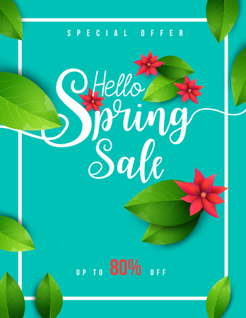 Spring sale banner with green leaf and colorful background vector. Design for your greetings card, flyers, web banner, invitation, posters, brochure, banners, calendar, spring sale. Ilustracja