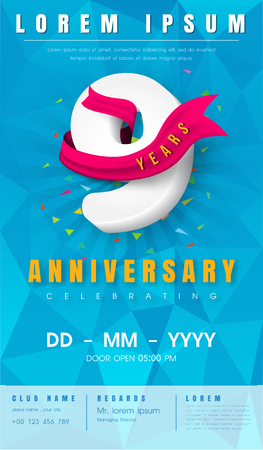 9 years anniversary invitation card or emblem  with background polygon and pink ribbon.