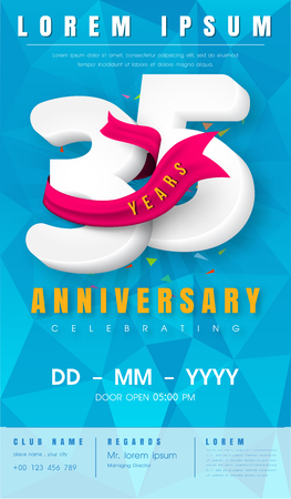 35 years anniversary invitation card or emblem  with background polygon and pink ribbon.