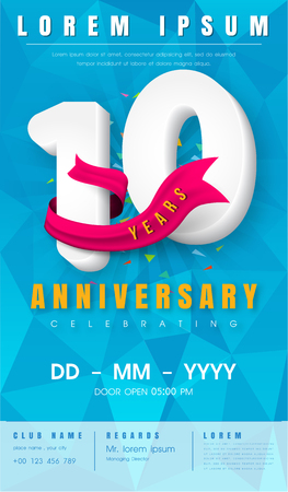 10 years anniversary invitation card or emblem  with background polygon and pink ribbon. Illustration