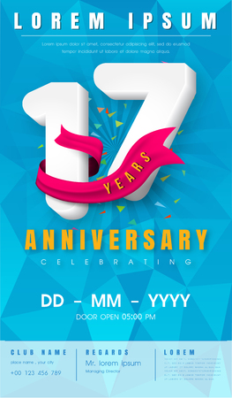 17th anniversary modern design elements with background polygon and pink ribbon.