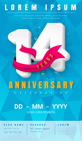 14th anniversary modern design elements with background polygon and pink ribbon.