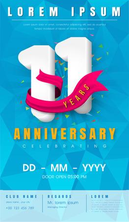 11th anniversary modern design elements with background polygon and pink ribbon - vector illustration.
