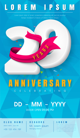 29th anniversary modern design elements with background polygon and pink ribbon.