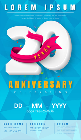 20th anniversary modern design elements with background polygon and pink ribbon illustration.