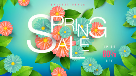 Spring Sale Banner with green leaf and colorful flowers.