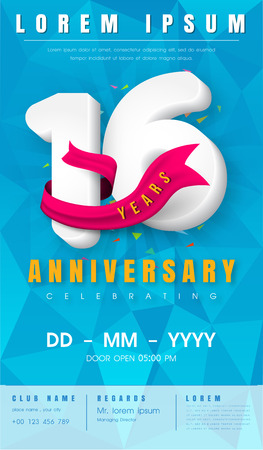 16th anniversary modern design elements with background polygon and pink ribbon.