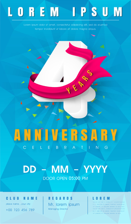 4th anniversary modern design elements with background polygon and pink ribbon.