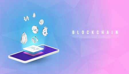 Cryptocurrency and blockchain isometric composition with Isometric phone, laptop. Smart object and smart technology design. 3d vector illustration. analysts and managers working on blockchain start up  イラスト・ベクター素材