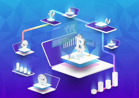Cryptocurrency and blockchain isometric composition with Isometric phone, laptop.