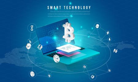 Concepto de procesamiento de big data, estación de energía del futuro, centro de datos, criptomoneda y composición isométrica de blockchain Objeto inteligente y diseño de tecnología inteligente. para trabajar en la puesta en marcha de blockchain. Ilustración de vector