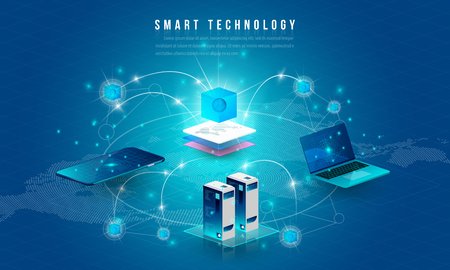 Concept of big data processing, energy station of future, data center, Cryptocurrency and blockchain isometric composition Smart object and smart technology design. for working on blockchain start up.