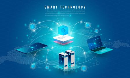 Konzept der Big-Data-Verarbeitung, der Energiestation der Zukunft, des Rechenzentrums, der Kryptowährung und der isometrischen Blockchain-Zusammensetzung Intelligentes Objekt und intelligentes Technologiedesign. für die Arbeit an Blockchain starten.