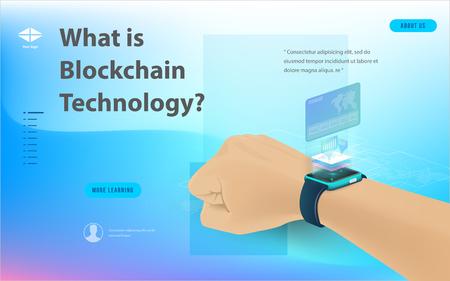 Concept de traitement de données volumineuses, station d'énergie du futur, centre de données, composition isométrique de crypto-monnaie et de blockchain Objet intelligent et conception de technologie intelligente. pour travailler sur le démarrage de la blockchain.