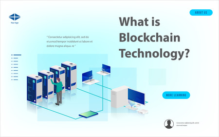 Concept of big data processing, energy station of future, data center, Cryptocurrency and blockchain isometric composition Smart object and smart technology design. for working on blockchain start up. Vector Illustration