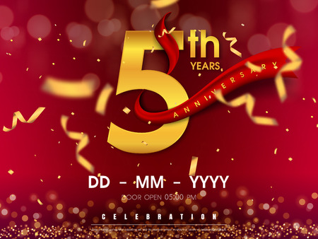 5 years anniversary logo template on gold background. 5th celebrating golden numbers with red ribbon vector and confetti isolated design elements Çizim