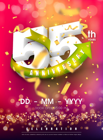55 years anniversary invitation card - celebration template design , 55th anniversary modern design elements and confetti, bokeh pink purple background - vector illustration colorful invitation card.